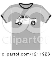 Clipart Of A Gray T Shirt With An Austin Car Royalty Free Vector Illustration by Lal Perera
