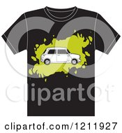 Clipart Of A Black T Shirt With A Fiat Car Royalty Free Vector Illustration by Lal Perera