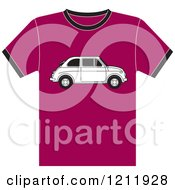 Clipart Of A Pink T Shirt With A Fiat Car Royalty Free Vector Illustration by Lal Perera