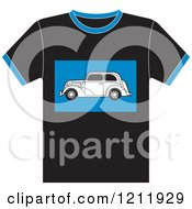 Clipart Of A Black T Shirt With A Vintage Ford Car Royalty Free Vector Illustration by Lal Perera