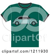 Clipart Of A Teal T Shirt With Vw Beetle Royalty Free Vector Illustration by Lal Perera