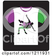 Clipart Of A Black Icon Of A T Shirt With Wrestlers Royalty Free Vector Illustration by Lal Perera
