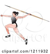 Clipart Of A Female Javelin Thrower In A Black Uniform Royalty Free Vector Illustration
