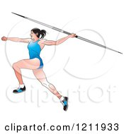 Clipart Of A Female Javelin Thrower In A Blue Uniform Royalty Free Vector Illustration by Lal Perera