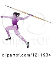 Clipart Of A Purple Female Javelin Thrower Royalty Free Vector Illustration by Lal Perera