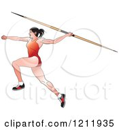 Clipart Of A Female Javelin Thrower In A Red Uniform Royalty Free Vector Illustration by Lal Perera