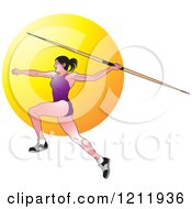 Clipart Of A Female Javelin Thrower In A Purple Uniform Royalty Free Vector Illustration by Lal Perera