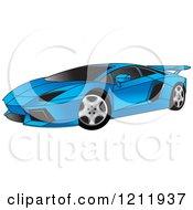 Clipart Of A Blue Lamborghini Aventador Sports Car Royalty Free Vector Illustration