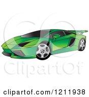 Clipart Of A Green Lamborghini Aventador Sports Car Royalty Free Vector Illustration