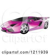 Clipart Of A Purple Lamborghini Aventador Sports Car Royalty Free Vector Illustration