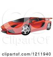 Clipart Of A Red Lamborghini Aventador Sports Car Royalty Free Vector Illustration