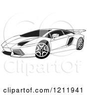 Clipart Of A Black And White Lamborghini Aventador Sports Car Royalty Free Vector Illustration