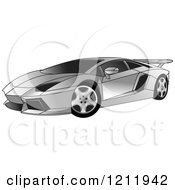 Clipart Of A Silver Lamborghini Aventador Sports Car Royalty Free Vector Illustration