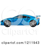 Clipart Of A Blue Sports Car Royalty Free Vector Illustration