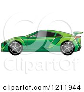 Clipart Of A Green Sports Car Royalty Free Vector Illustration