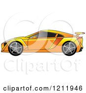 Clipart Of An Orange Sports Car Royalty Free Vector Illustration by Lal Perera