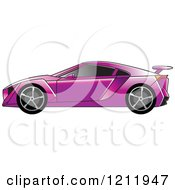 Clipart Of A Purple Sports Car Royalty Free Vector Illustration by Lal Perera