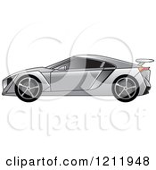 Clipart Of A Silver Sports Car Royalty Free Vector Illustration by Lal Perera
