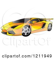 Clipart Of A Yellow Lamborghini Aventador Sports Car Royalty Free Vector Illustration by Lal Perera