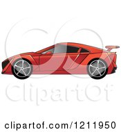 Clipart Of A Red Sports Car Royalty Free Vector Illustration by Lal Perera