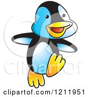 Clipart Of A Happy Penguin Dancing Royalty Free Vector Illustration by Lal Perera