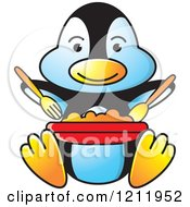 Clipart Of A Happy Penguin Eating Royalty Free Vector Illustration by Lal Perera
