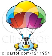 Clipart Of A Happy Penguin Parachuting Royalty Free Vector Illustration by Lal Perera