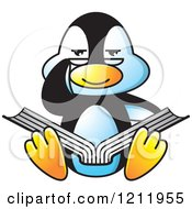 Clipart Of A Happy Penguin Reading Royalty Free Vector Illustration by Lal Perera