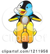 Clipart Of A Happy Penguin Driving A Scooter Royalty Free Vector Illustration