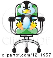 Clipart Of A Happy Penguin Sitting In A Chair Royalty Free Vector Illustration by Lal Perera
