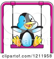 Clipart Of A Happy Penguin Swinging Royalty Free Vector Illustration