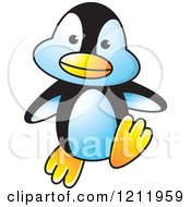 Clipart Of A Happy Penguin Walking Royalty Free Vector Illustration by Lal Perera
