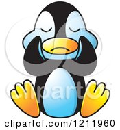 Clipart Of A Happy Penguin Crying Royalty Free Vector Illustration by Lal Perera
