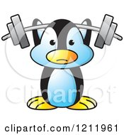 Clipart Of A Happy Penguin Lifting A Barbell Royalty Free Vector Illustration by Lal Perera