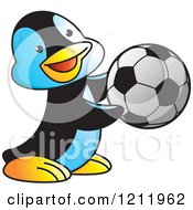 Clipart Of A Happy Penguin Playing Soccer Royalty Free Vector Illustration by Lal Perera