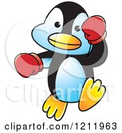 Clipart Of A Happy Penguin Boxing Royalty Free Vector Illustration by Lal Perera