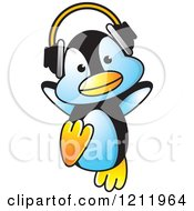 Clipart Of A Happy Penguin Wearing Headphones Royalty Free Vector Illustration by Lal Perera