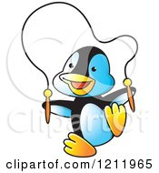 Clipart Of A Happy Penguin Playing With A Jump Rope Royalty Free Vector Illustration by Lal Perera