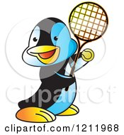 Clipart Of A Happy Penguin Playing Tennis Royalty Free Vector Illustration