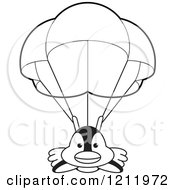 Clipart Of A Black And White Happy Penguin Parachuting Royalty Free Vector Illustration