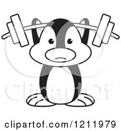 Clipart Of A Black And White Happy Penguin Lifting A Barbell Royalty Free Vector Illustration