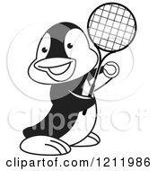 Clipart Of A Black And White Happy Penguin Playing Tennis Royalty Free Vector Illustration