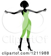 Clipart Of A Faceless Woman In A Green Leotard Royalty Free Vector Illustration