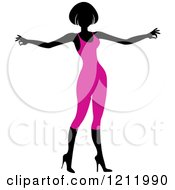 Clipart Of A Faceless Woman In A Purple Leotard Royalty Free Vector Illustration