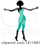 Clipart Of A Faceless Woman In A Turqoise Leotard Royalty Free Vector Illustration