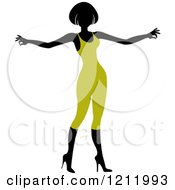 Clipart Of A Faceless Woman In A Green Leotard 2 Royalty Free Vector Illustration