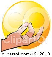 Clipart Of A Meditating Hand Over An Orange Circle Royalty Free Vector Illustration by Lal Perera