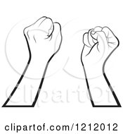 Clipart Of Black And White Strong Fisted Hands Raised Royalty Free Vector Illustration