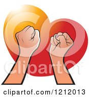 Clipart Of Strong Fisted Hands Raised Over A Red Heart Royalty Free Vector Illustration