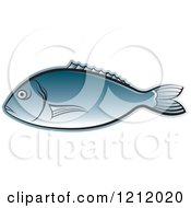 Clipart Of A Blue Fish 2 Royalty Free Vector Illustration